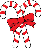 two candy canes red ribbon